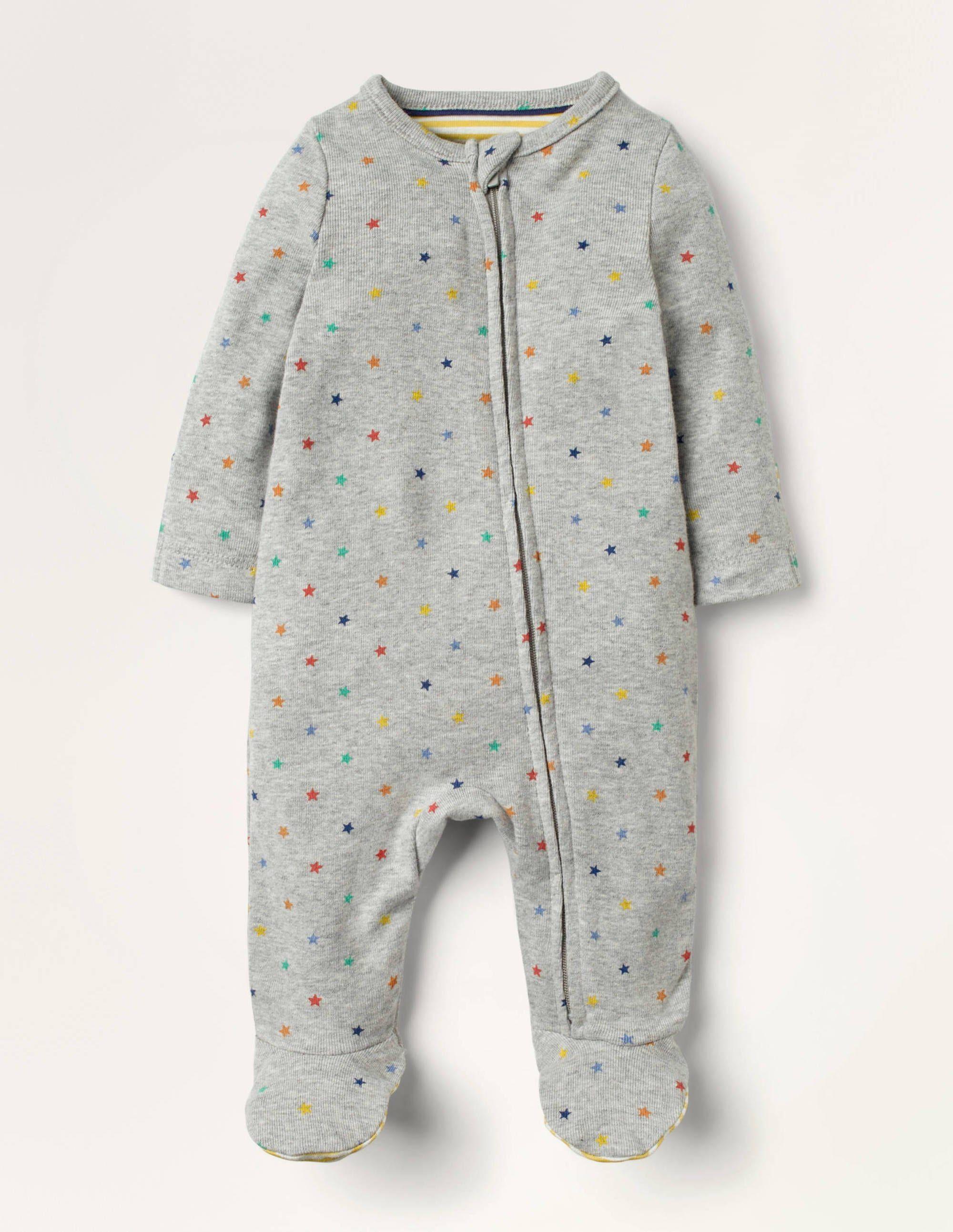 Baby Grenouillère zippée ultra-douce à motif étoile GRY Bébé Boden, Grey - Nouveau-nés