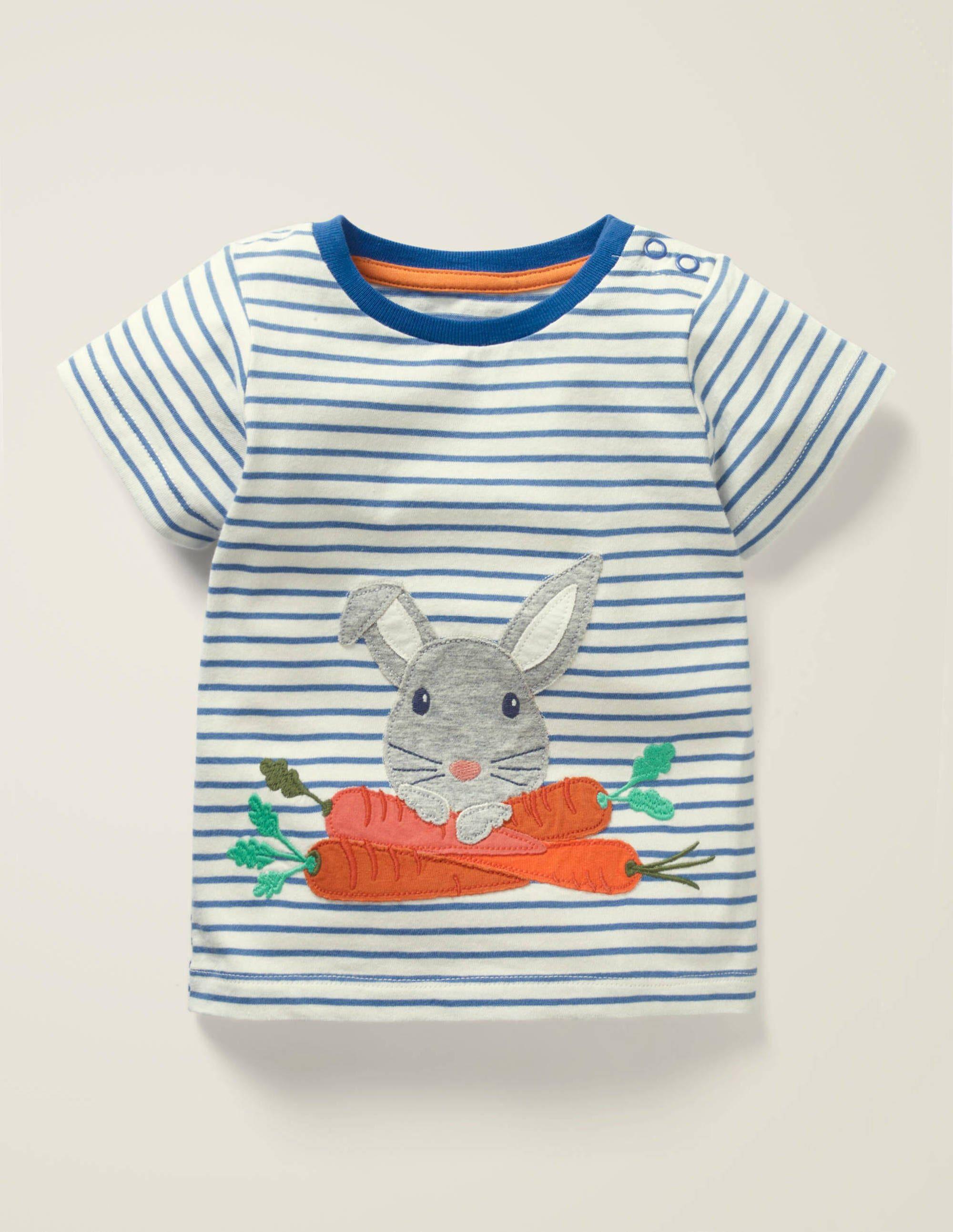 Baby T-shirt à appliqué animal BLU Bébé Boden, Blue - 2-3a