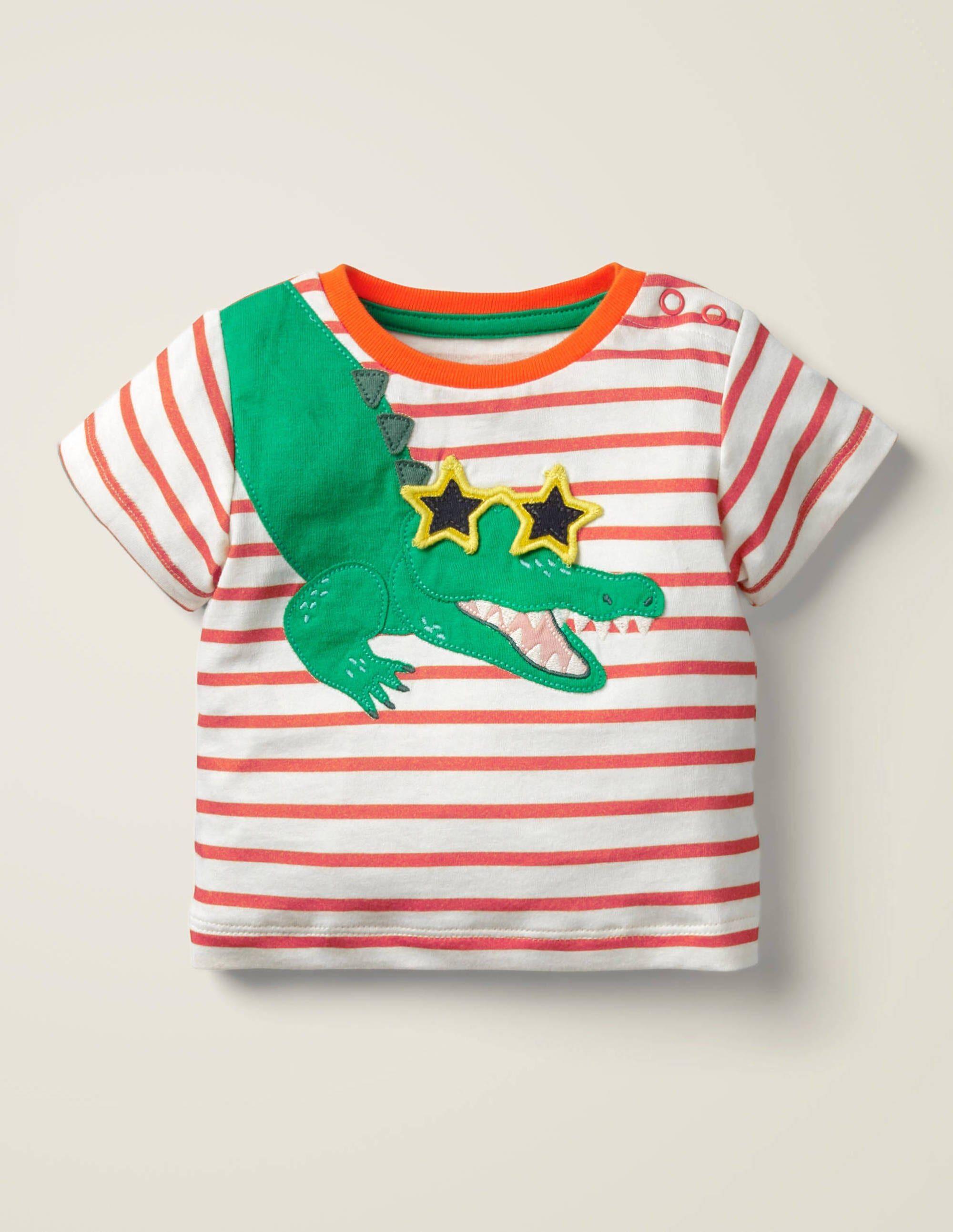 Baby T-shirt à appliqué animal ORA Bébé Boden, Orange - 3-6m