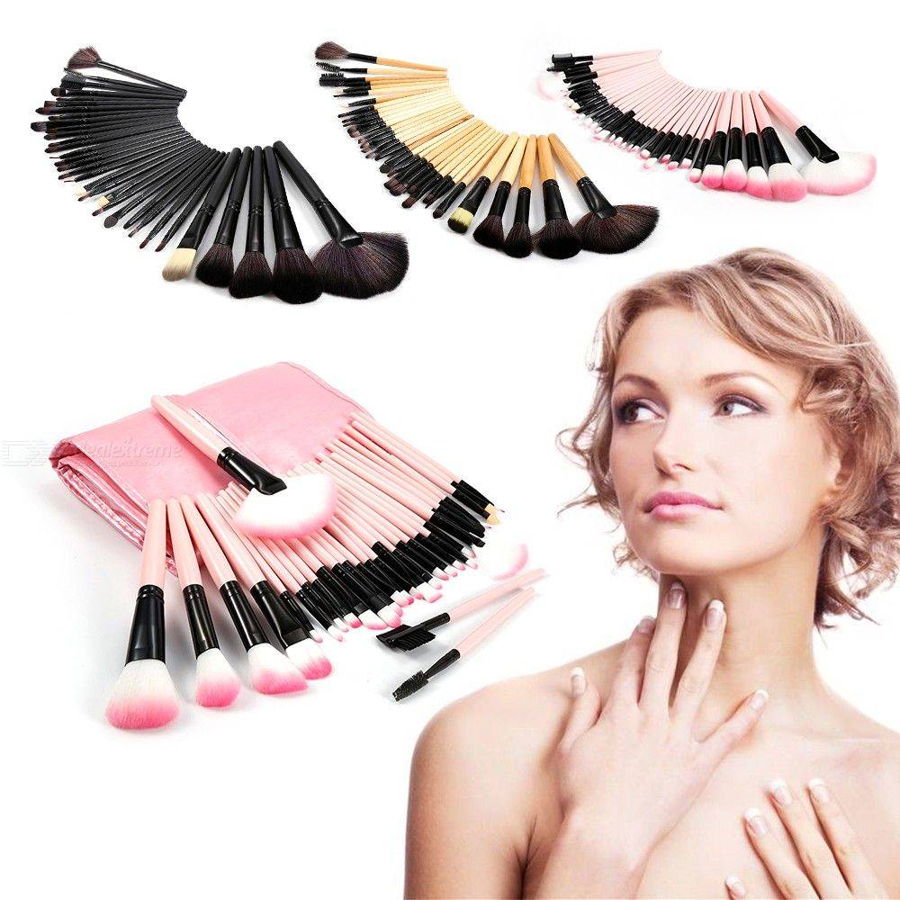Ensemble De Pinceaux De Maquillage De 32 Pièces, Pinceaux De Maquillage Cosmétiques À Poils Synthétiques Naturels Avec Sac De Rangement En Cuir