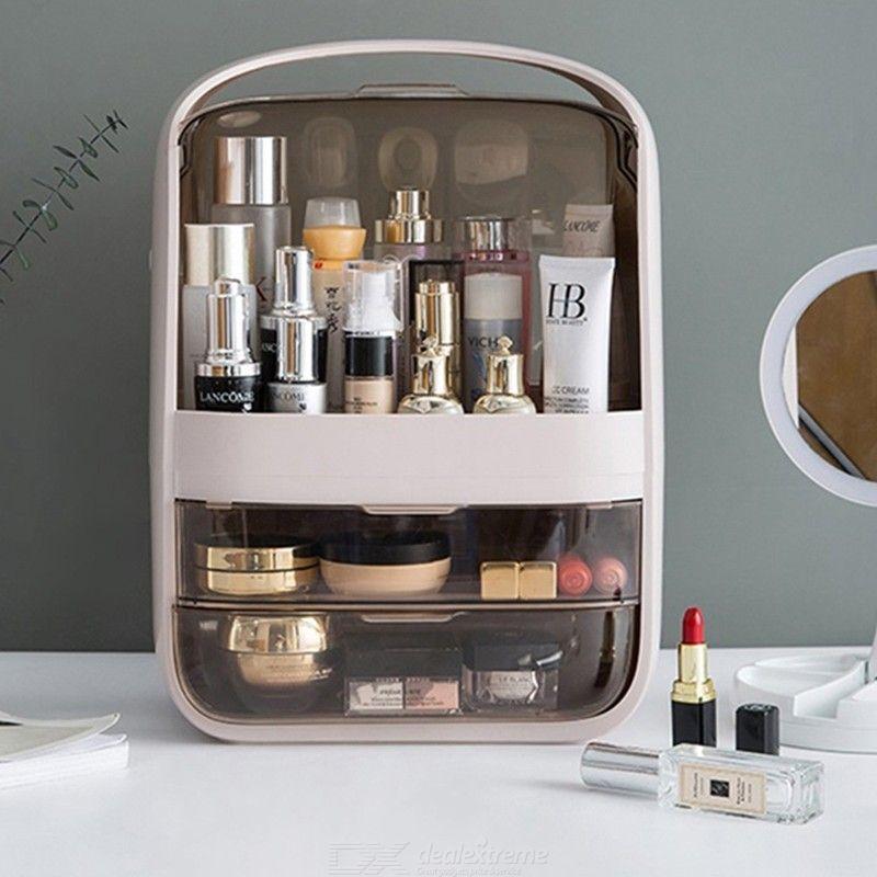 Mode Nouveau Maquillage Organisateur De Grande Capacité Imperméable À L'eau Et Antipoussière Salle De Bain Boîte De Rangement Cosmétiques Tiroir De Rangement De Beauté Bureau
