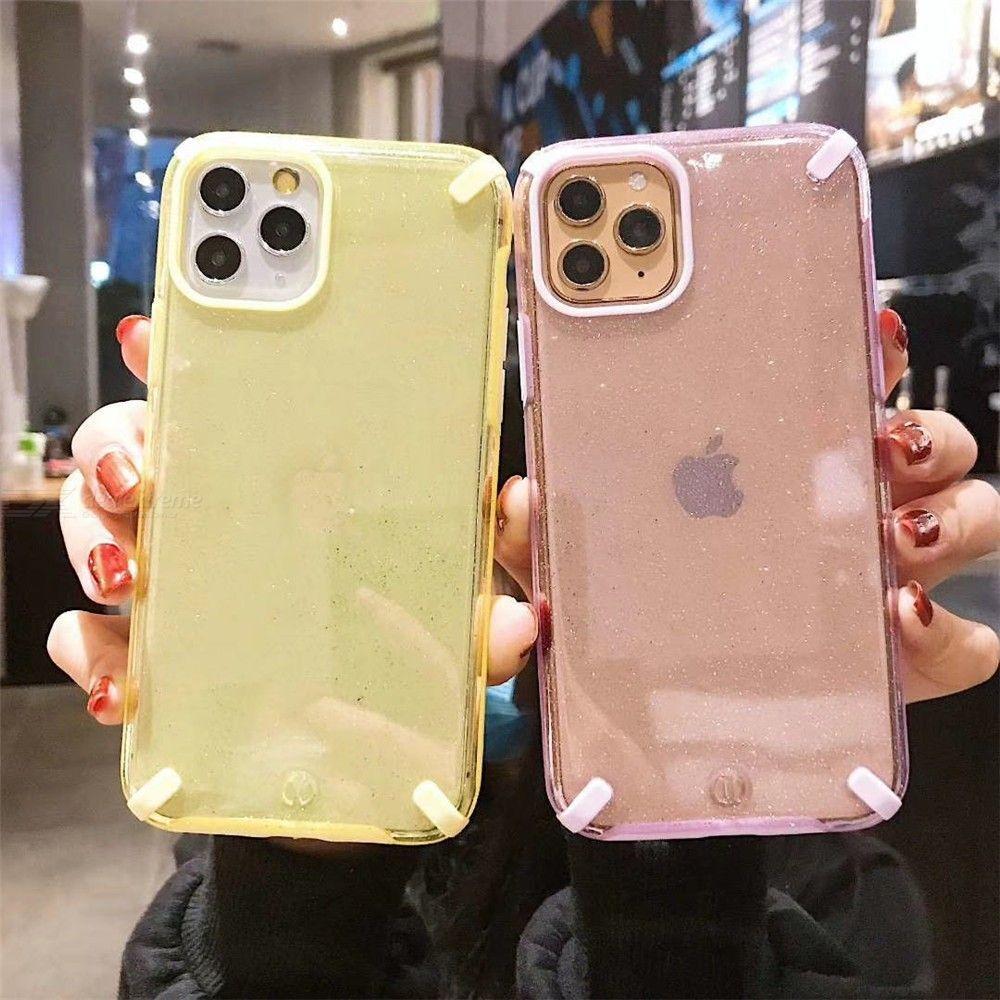 Cas De Téléphone Pour Iphone 11 Pro Max 7 8 Plus X XR XS Bling Absorption Cas De Choc Clair Housse De Protection Avec Bord Doux
