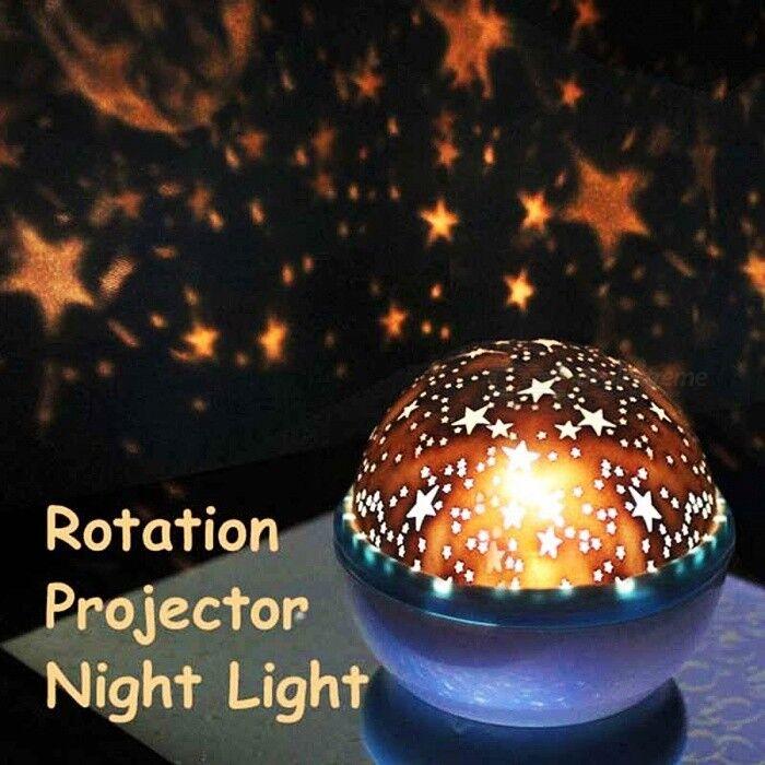 Lumière lumineuse lampe ABS rotation ciel étoilé nuit projecteur avec USB câble romantique décoration lampe pour chambre d'enfants couleur au hasard