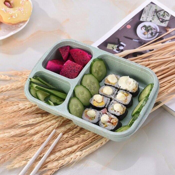 Boîte À Lunch Paille De Blé Micro-ondes Vaisselle Boîte À Bento Qualité Santé Naturel 3 Grille Étudiant Boîte De Stockage Portable