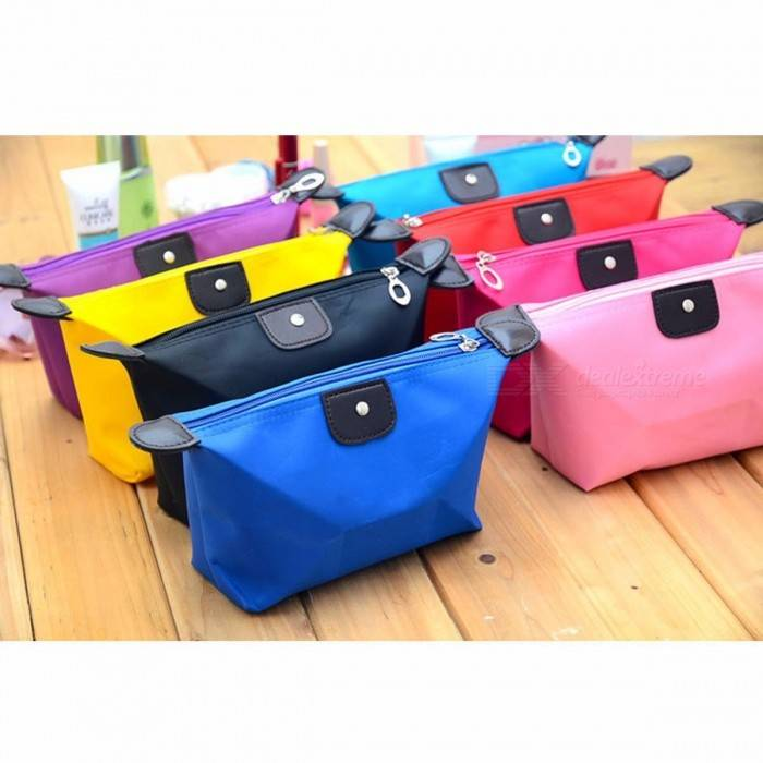 Style de boulette sac de maquillage couleur solide polyester sac de rangement cosmétique portable étanche sac à fermeture éclair couleur aléatoire