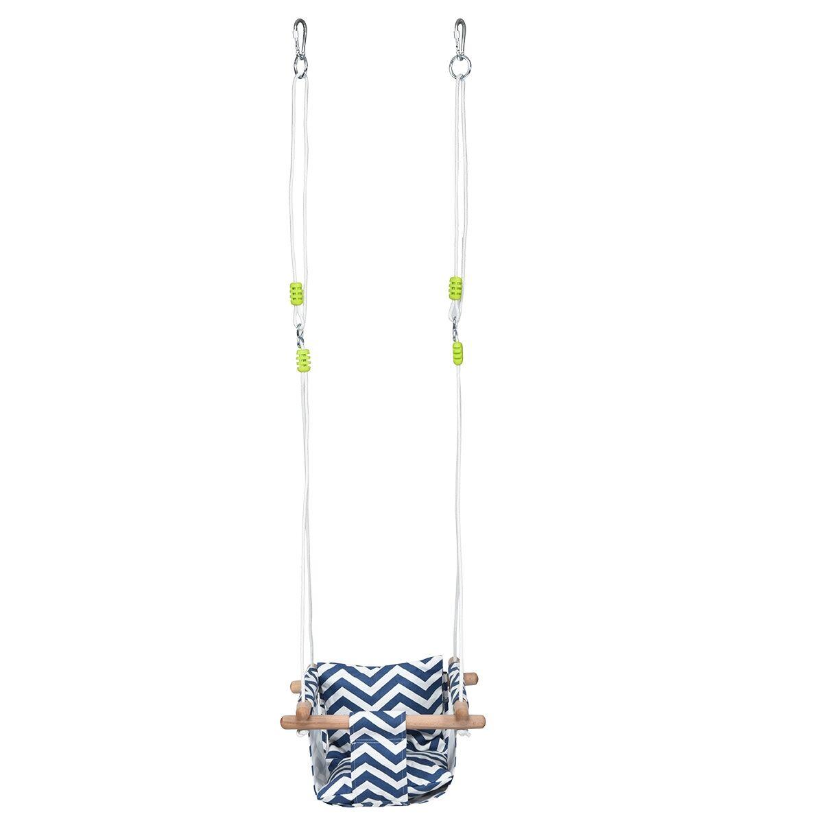 Costway Chaise Hamac Suspendu en Toile pour Bébé 6-36 Mois avec 2 Coussins Charge 60KG Corde Réglable Bleu+Blanc