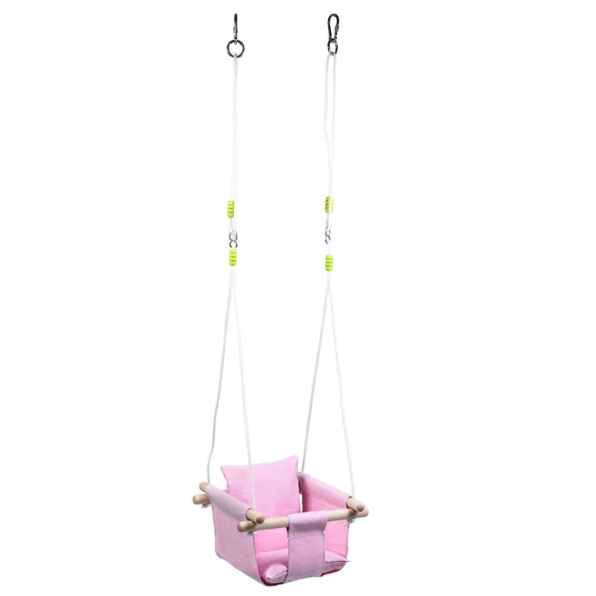 Costway Chaise Hamac Suspendu en Toile pour Bébé 6-36 Mois avec 2 Coussins Charge 60KG Corde Ajustable Rose