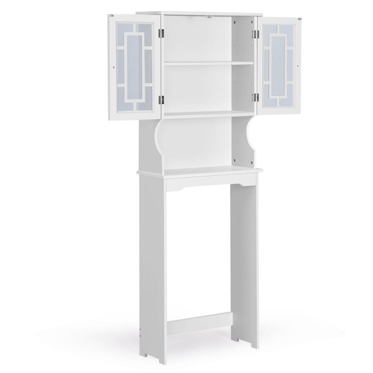Costway Meuble Dessus Toilette WC Meuble de Salle de Bain avec 2 Portes Armoire de Toilettes WC Blanche