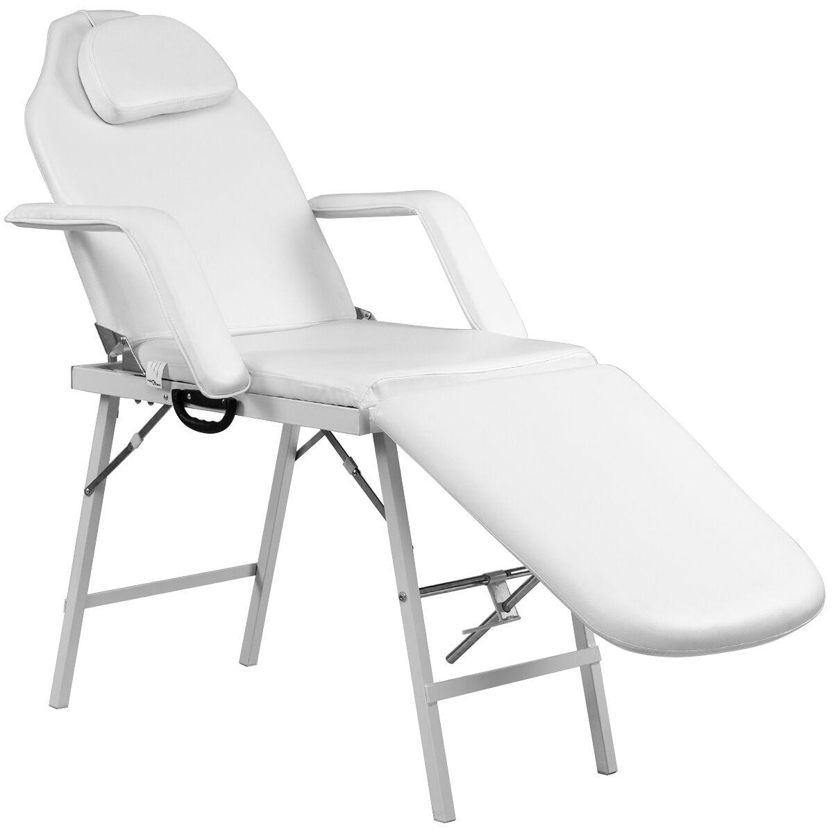 Costway Table de Massage Pliante 3 Zones Lit de Massage Cosmétique Portable en Métal 182x77 5CM Blanc