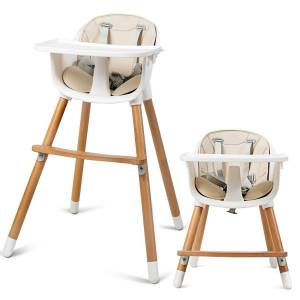 Costway Chaise Haute Bébé Convertible 2 en 1 pour 6 Mois-3Ans Charge 15KG Forme-A Stable Hauteur Réglable Repose-Pieds et Plateau - Publicité