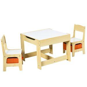Costway Ensemble Table et 2 Chaises pour Enfant en Bois Tableau Transformable avec Chaise Fonction de Stockage - Publicité
