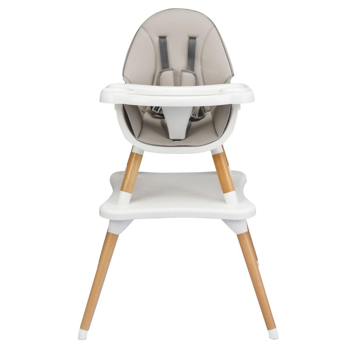 Costway Chaise Haute Bébé 4 en 1 Plateau Réglable en 4 Etapes pour Bébé 6 Mois-3 Ans Charge 15KG Gris