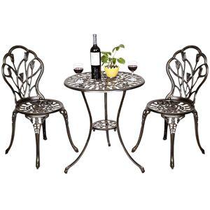 Costway Ensemble meubles de jardin avec 1 table et 2 chaises en aluminium rétro - Publicité