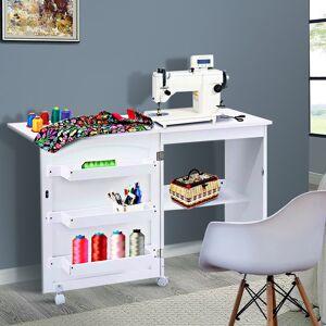 Costway Table de la Machine à Coudre Pliable avec Roulettes 3 Etagères Blanc 117 x 40 x 77 cm - Publicité