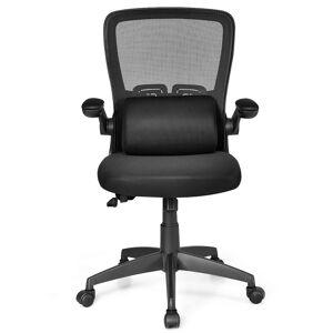 Costway Chaise de Bureau à Roulette avec Support Lombaire de Massage Rechargé par USB Dossier Haut Accoudoirs Relevables Noir - Publicité
