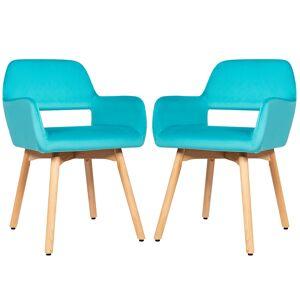 Costway Lot de 2 Chaises avec Accoudoirs et Coussin Rembourré Chaises de Loisirs avec Pieds en Hêtre Bleu - Publicité