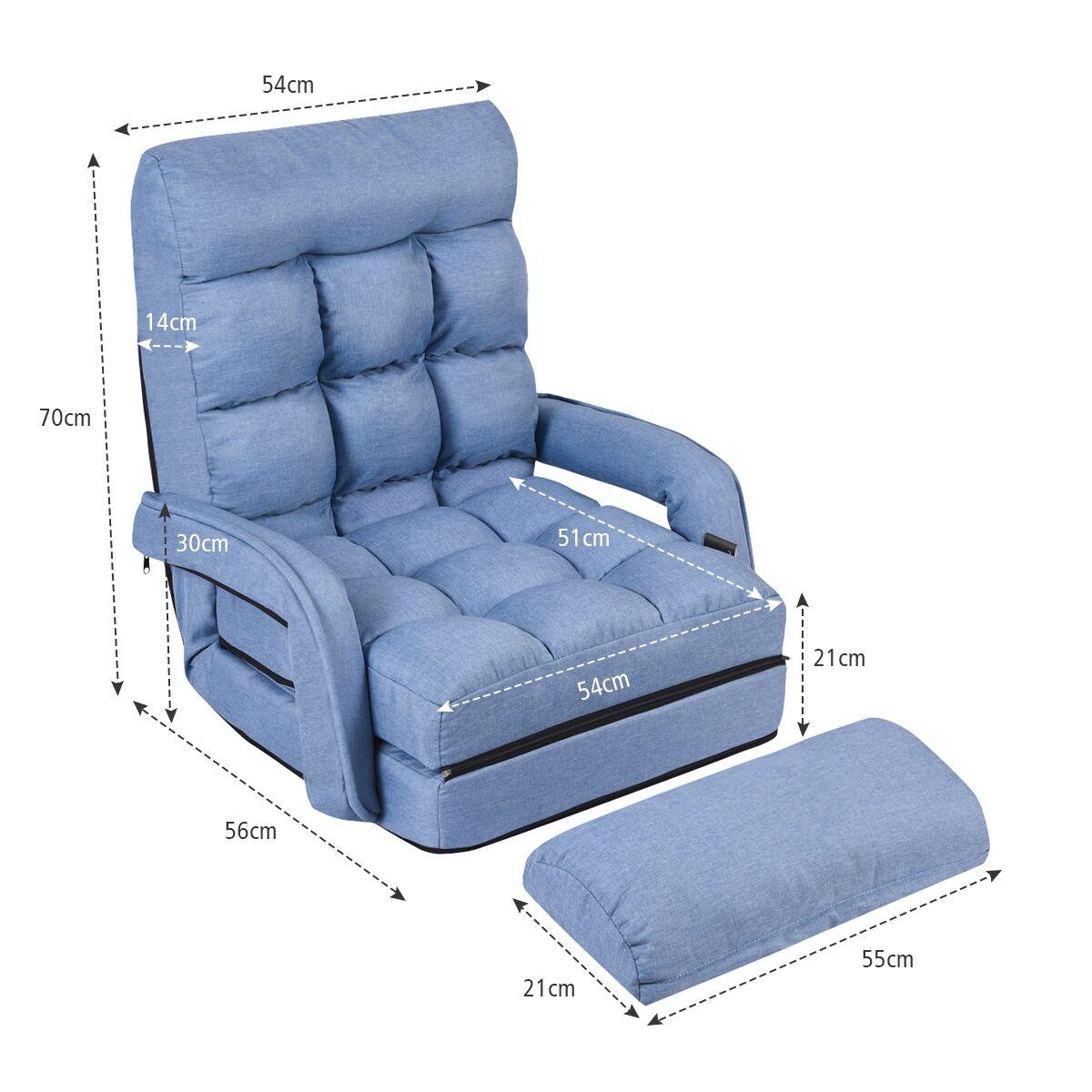 Costway Fauteuil Convertible Chauffeuse Convertible 1 Place en Tissu avec Oreiller 5 Positions Bleu