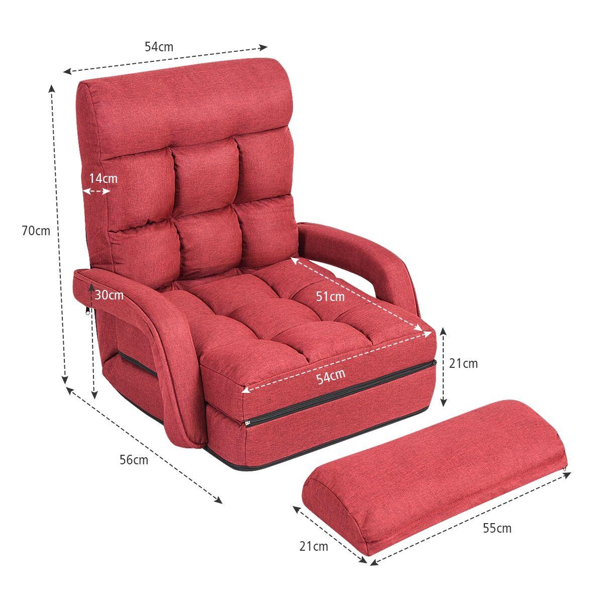 Costway Fauteuil Convertible Chauffeuse Convertible 1 Place en Tissu avec Oreiller 5 Positions Rouge