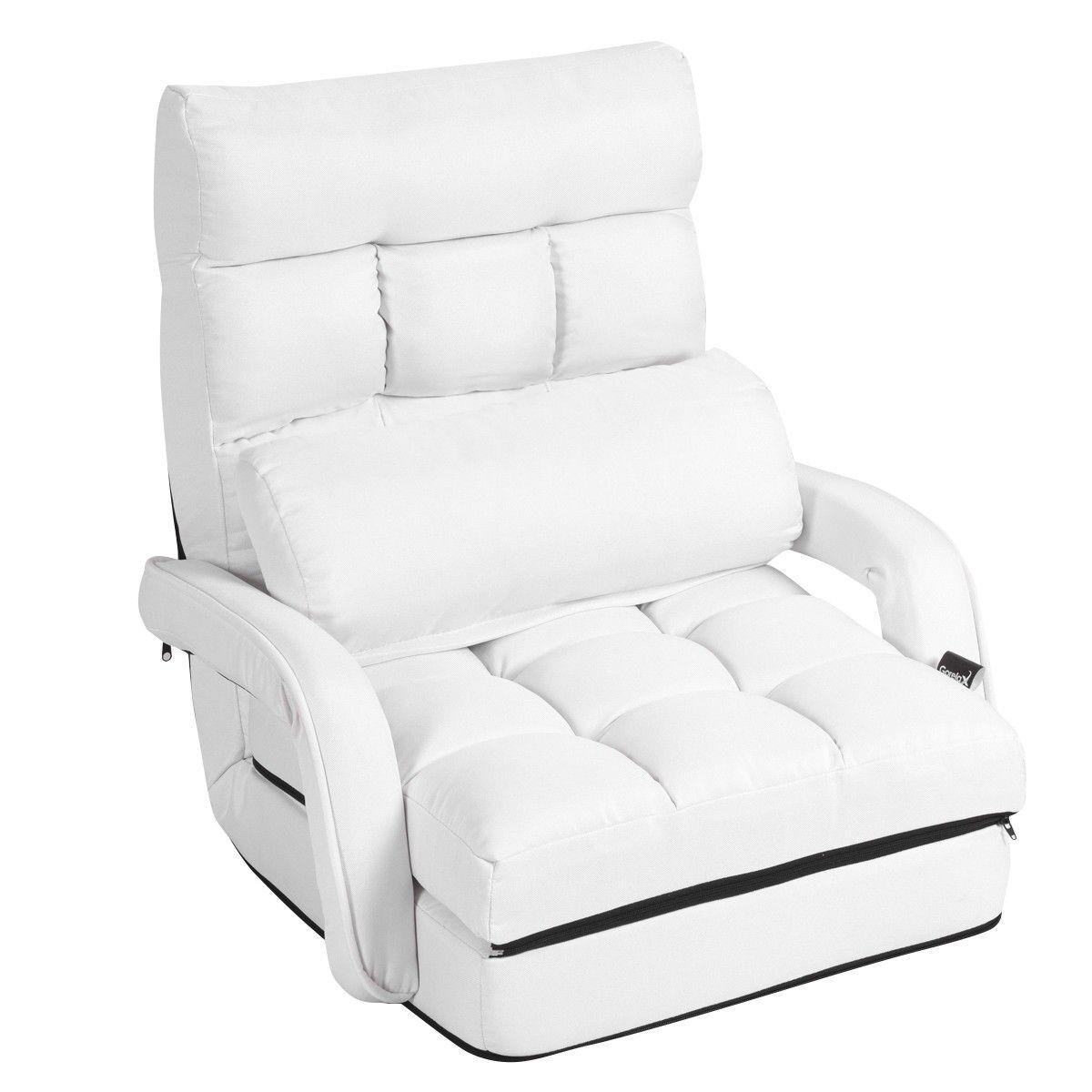 Costway Fauteuil Convertible Chauffeuse Convertible 1 Place en Tissu avec Oreiller 5 Positions Blanc
