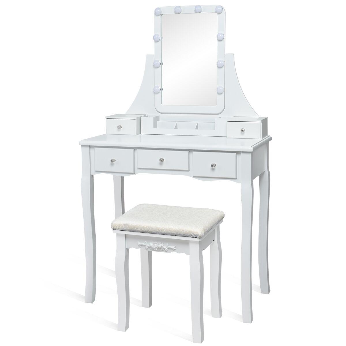 Costway Coiffeuse Table de Maquillage avec et 10 Lampes Miroir Pivotant à 360° 5 Tiroirs en Bois de Pin avec Tabouret Blanc