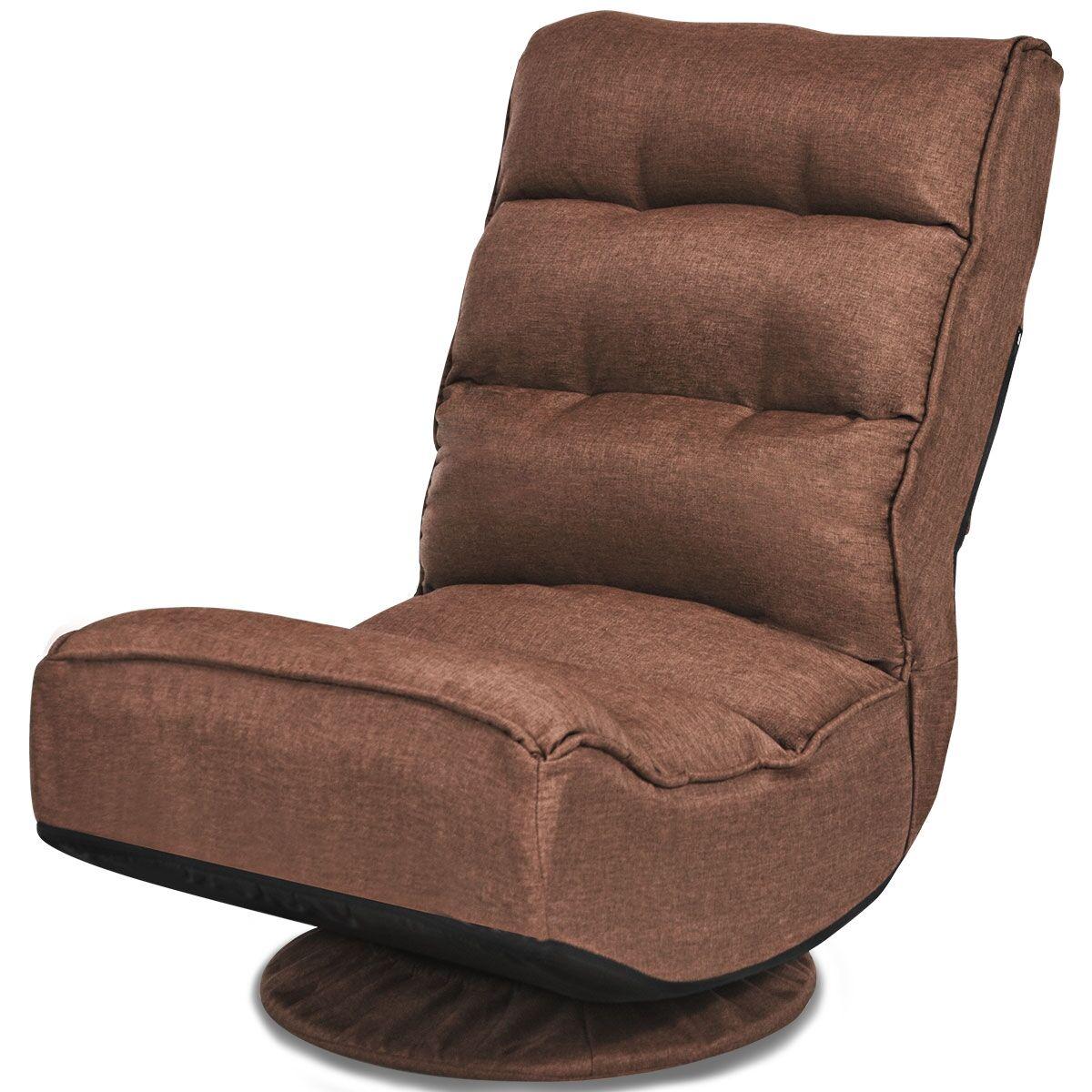 Costway Chaise Relax Pliable et Réglable en 5 Positions Pivotant 360 Degrés Rembourrée Confortable Café