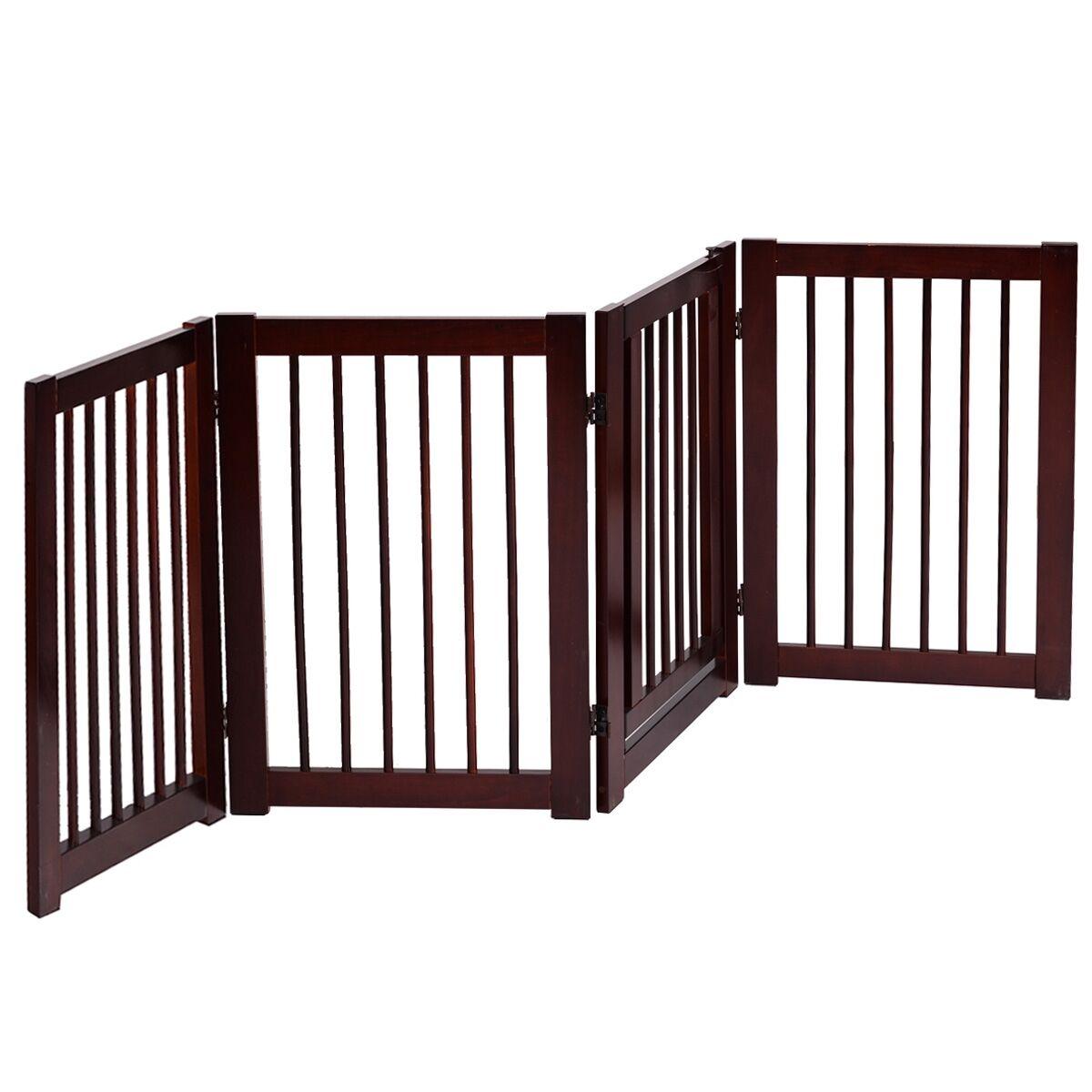 COSTWAY Barrière de Porte pour Chien Pilable Barrière de Sécurité pour Animaux en Bois de Pin 203x76cm