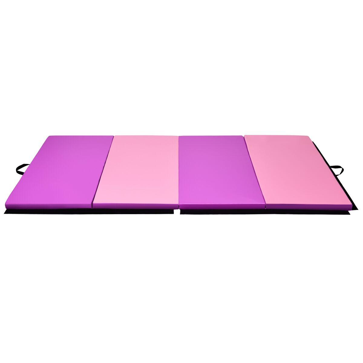 Costway Tapis de Gymnastique Pliable Tapis de Yoga Portable avec 2 Poignées de Transport et Velcro 240x120x5CM