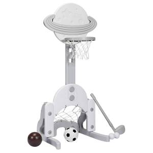 Costway Support de Basket Multifonctionnel 3-en-1 Hauteur Ajustables de 111 à 151cm Gris et Blanc - Publicité