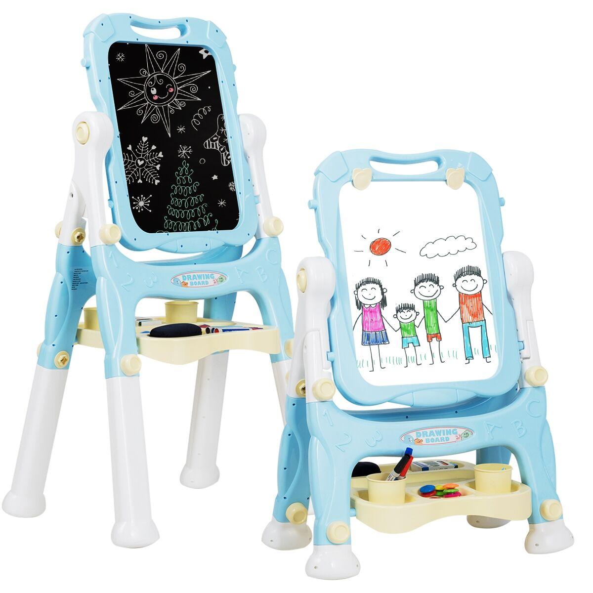 Costway Chevalet pour Enfant 2 en 1 Double Faces Accessoires pour Enfants plus de 3 Ans Bleu