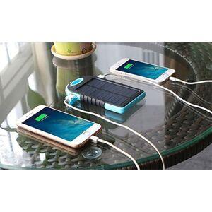 Groupon Goods Global GmbH Chargeur solaire portable / Batterie de secours 5000mAh - Double sorties USB, Lampe LED et Mousqueton - Waterproof - Publicité