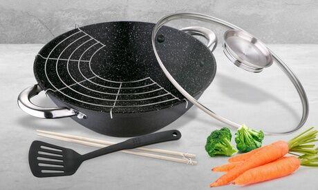 Groupon Goods Global GmbH Set wok Bergner 28 cm en fonte avec couvercle, baguettes et spatule