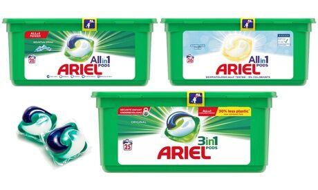 Groupon Goods Global GmbH 25, 75 ou 150 doses de lessive Ariel Regular ou 26, 78 ou 156 doses de lessive Ariel Alpine et Sensitive