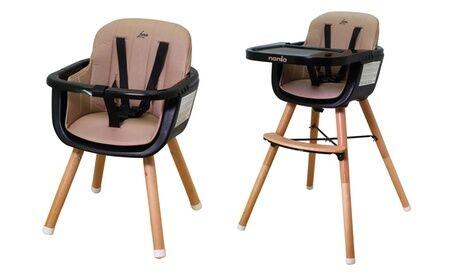 Groupon Goods Global GmbH Chaise haute Luna 2 en 1 évolutive avec pieds en bois