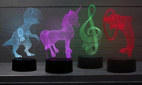 Groupon Goods Global GmbH Lampe veilleuse 3D à LED avec hologramme en couleurs pour enfants