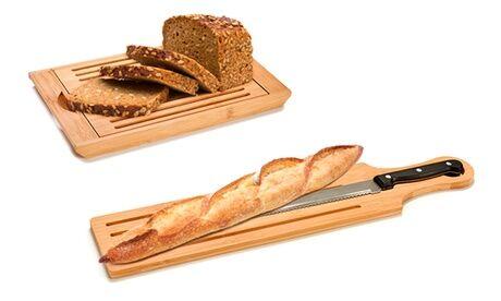 Groupon Goods Global GmbH Planche à découper en bambou avec plateau ou couteau en option
