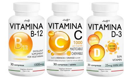 Groupon Goods Global GmbH B-C-D Trio de Vitamines B12, C, D3