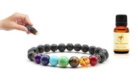 Groupon Goods Global GmbH 1 ou 2 bracelets chakras diffuseurs avec ou sans huile essentielle bio orange douce