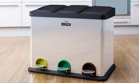 Groupon Goods Global GmbH Poubelle écologique tri sélectif 3 compartiments 45 L Wellhome