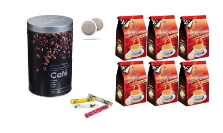 Groupon Goods Global GmbH Lot de 216 dosettes café Domino compatibles pour machine Senseo