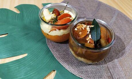 La Petite Pause Poteries 1 ou 2 bocaux en verre garni d'un plat maison au choix avec option dessert à emporter à La Petite Pause Poteries