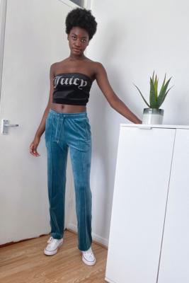 Juicy Couture - Pantalon de survêtement en velours\u00a0vert mousse- taille: M