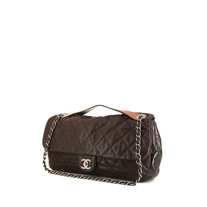 Chanel Sac à main Chanel en cuir matelassé marron et cuir verni