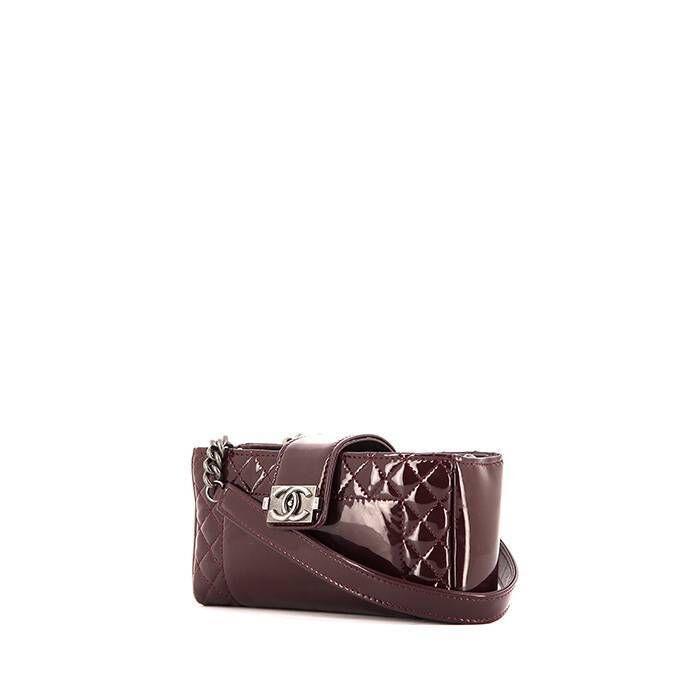 Chanel Sac bandoulière Chanel Mini Boy en cuir verni bordeaux