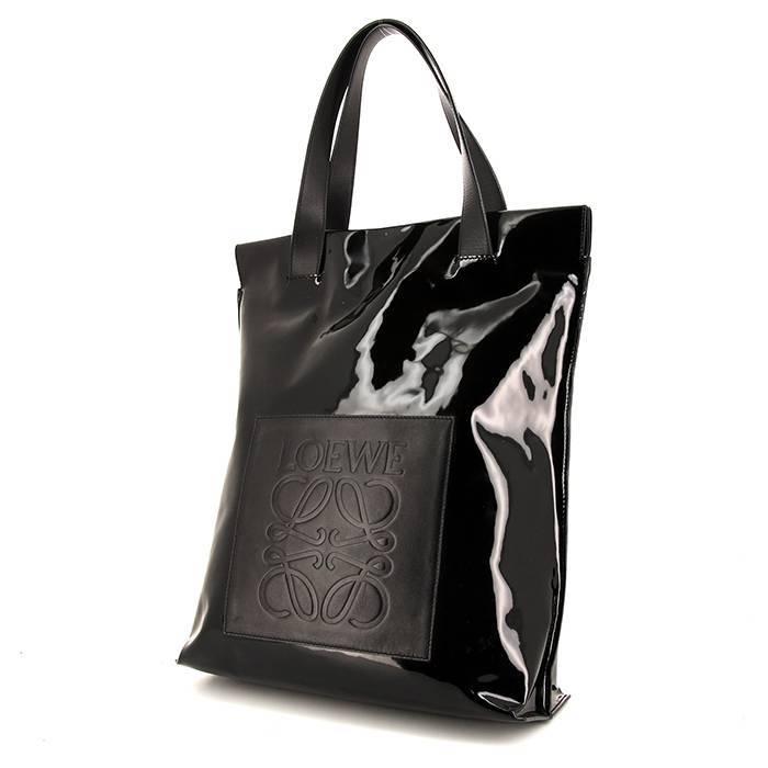 Loewe Sac shopping Loewe T shopper en cuir verni noir