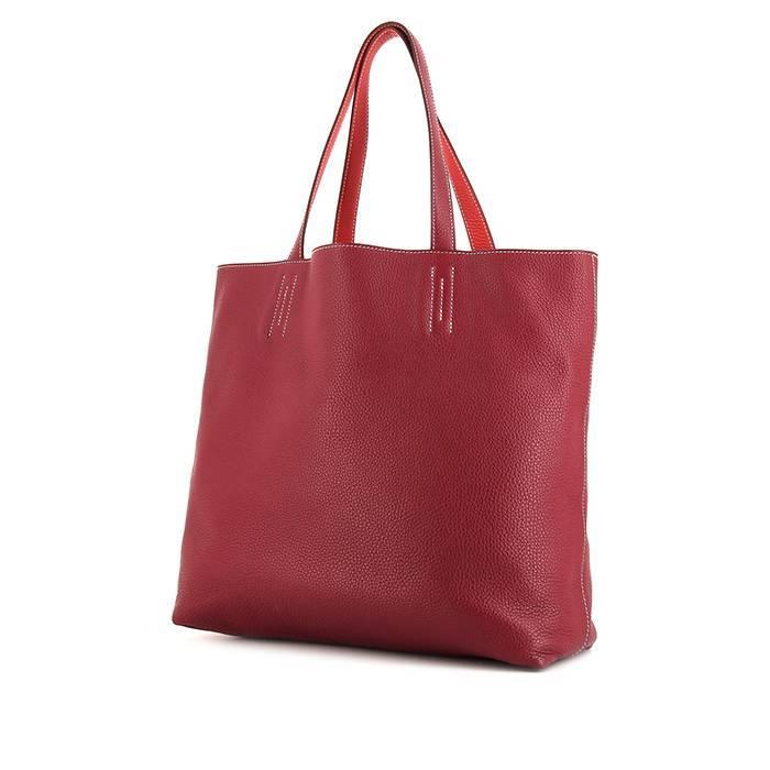Hermès Sac cabas Hermes Double Sens en cuir taurillon clémence rouge Rubis