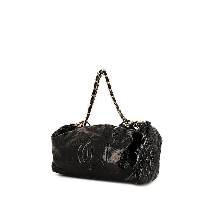 Chanel Sac à main Chanel Petit Shopping en cuir verni noir