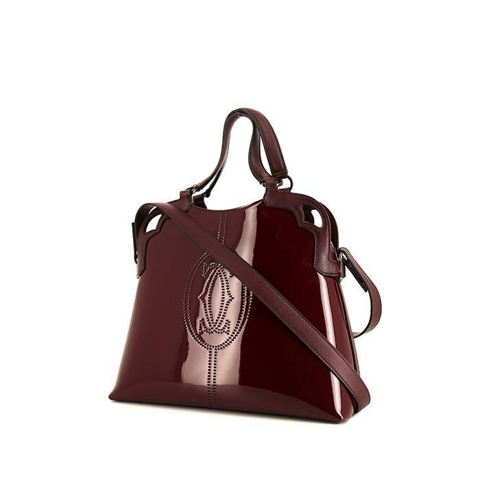 Cartier Sac porté épaule ou main Cartier Marcello en cuir verni bordeaux et