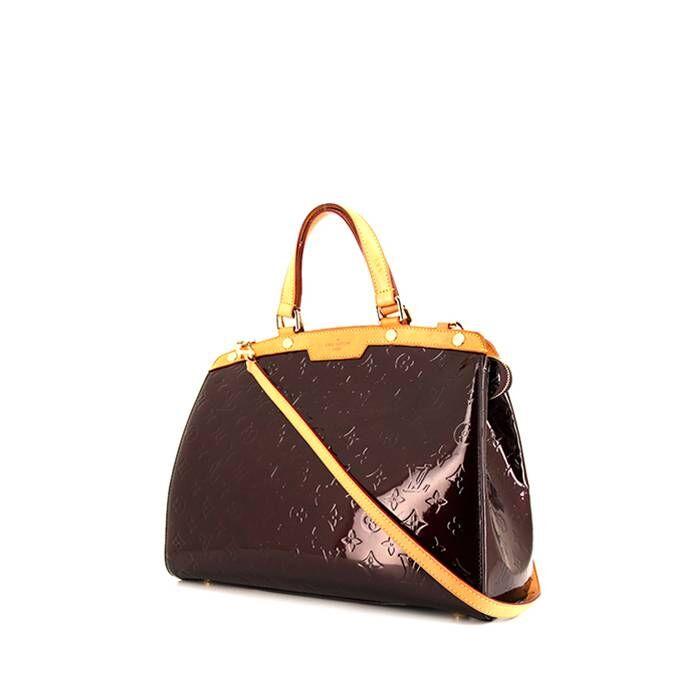 Louis Vuitton Sac à main Louis Vuitton Brea en cuir verni bordeaux et cuir naturel