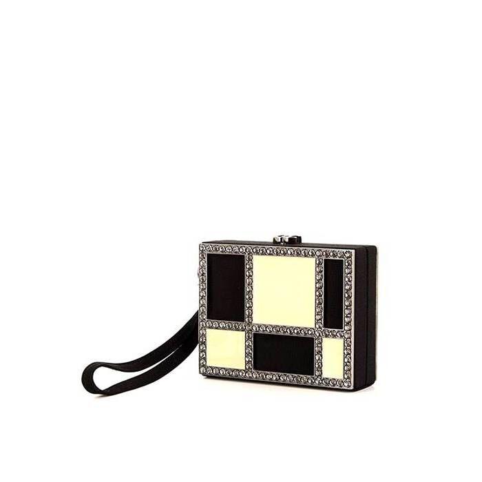 Chanel Minaudière Chanel en toile noire et crème et strass