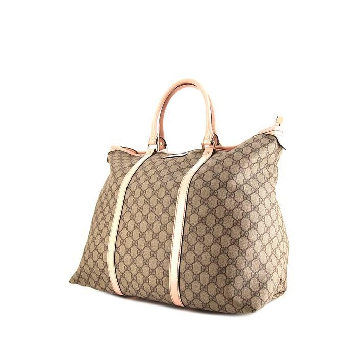 Gucci Sac de week end Gucci en toile monogram enduite beige et cuir verni